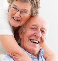 Close-up of a happy senior couple
